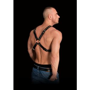 Ouch! Leather Harness Adonis High Halter (OU255BLK)