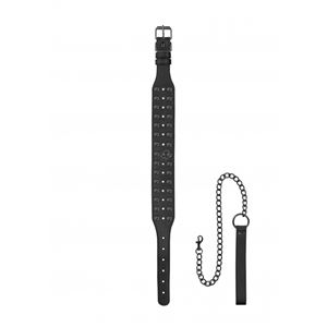 Ouch! Skulls and Bones Neck Chain with Spikes and Leash Black (OU301BLK)