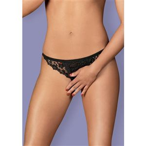 Obsessive Letica Crotchless Thong Black S/M - MINI