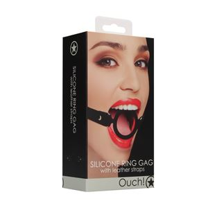 Ouch! Silicone Ring Gag with Leather Straps Black (OU463BLK)