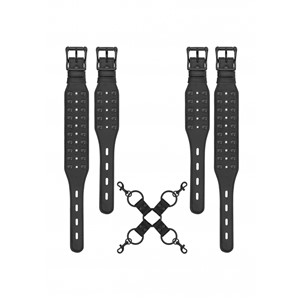 Ouch! Skulls and Bones Hogtie with Spikes Black (OU290BLK)